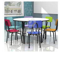 Conjunto Infantil Mesa Redonda com 6 cadeiras